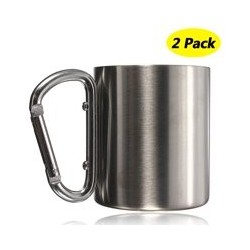 2-Pack 220ML Stainless Steel Coffee Mug Outdoor Camping Cup Carabiner Hook Double Wall For Camping Hiking Outdoor Handle Suitabl