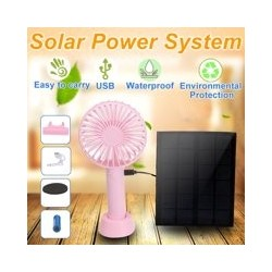 5W Solar Panel Fan Low Energy Consumption Mini Handheld Fan Rechargeable Fan Ventilator with USB Power and Data Line and Battery